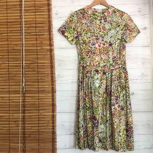 Vintage A Line Dress Floral Peter Pan Collar Belt